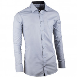 Šedá pánská košile s dlouhým rukávem rovná Aramgad 30183