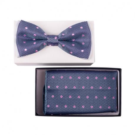 Pánský motýlek modrý růžový puntík Assante 90302