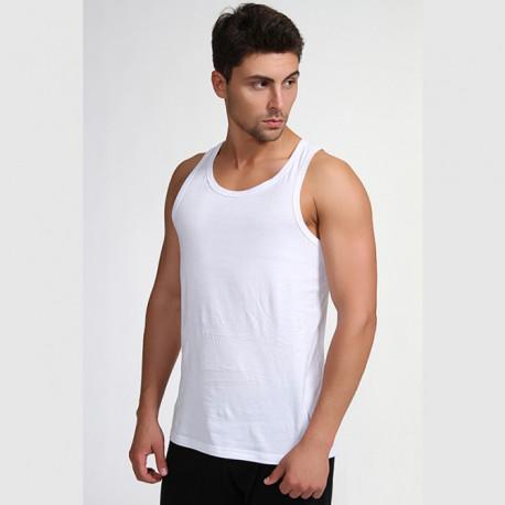 Bílý pánský nátělník 100 % bavlna Vasil Assante 50001