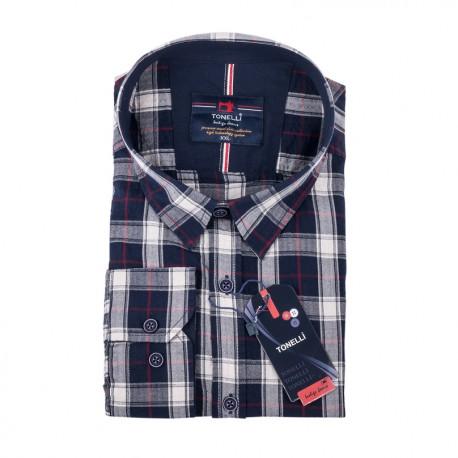 Modrobílá kostkovaná nadměrná košile Tonelli 110989