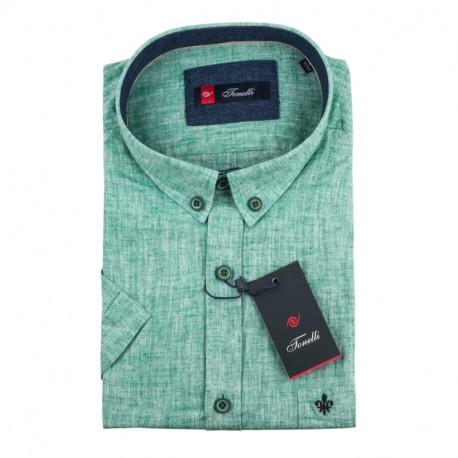 Pánská košile zelená krátký rukáv Tonelli 110866