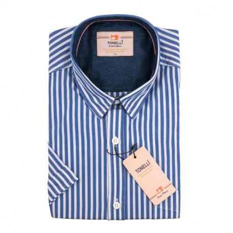Pánská košile modrobílá krátký rukáv Tonelli 110870