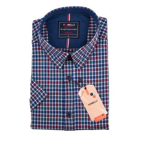 Pánská nadměrná košile modrozelenočervená krátký rukáv Tonelli 110885