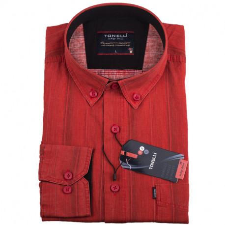 Pánská košile oranžová dlouhý rukáv Tonelli 110927