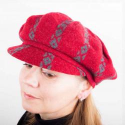 Červený dámský baret s kšiltem z vlny Tonak 87204