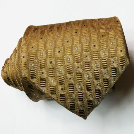 Hnědá pánská hnědá kravata s geometrickým vzorem Greg 92910