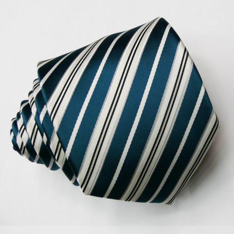 Pánská zelenobílá petrolejová kravata Greg 95016