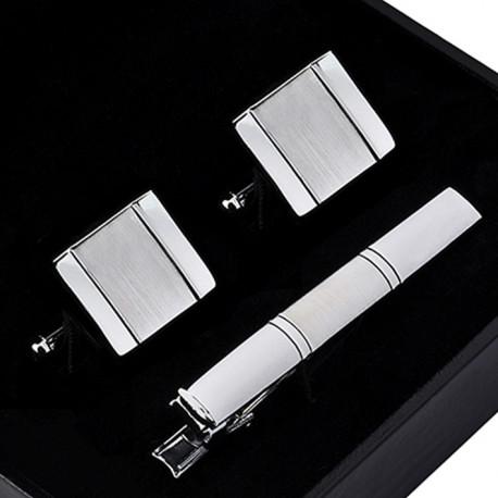 Manžetové knoflíčky se sponou ve stříbrné barvě Assante 90596