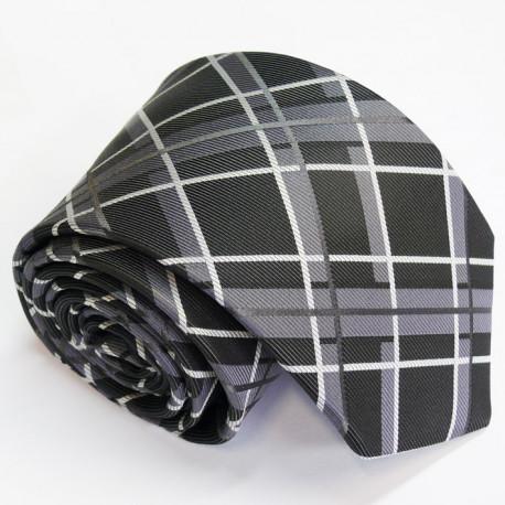 Pánská šedá kravata šedé káro Greg 91117