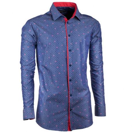 Prodloužená pánská košile slim modročervená Assante 20795