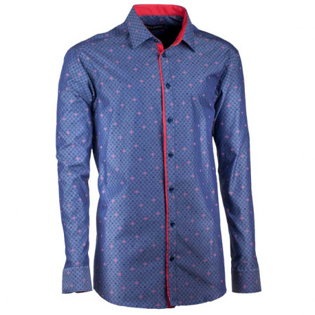 Prodloužená pánská košile rovná modročervená Assante 20796