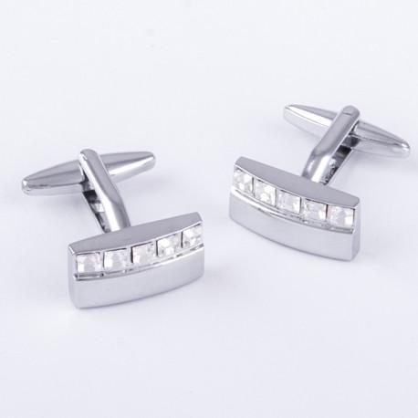 Manžetové knoflíčky stříbrné s kamínky Assante 90549