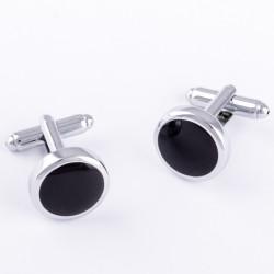 Manžetové knoflíčky černo stříbrné Assante 90550