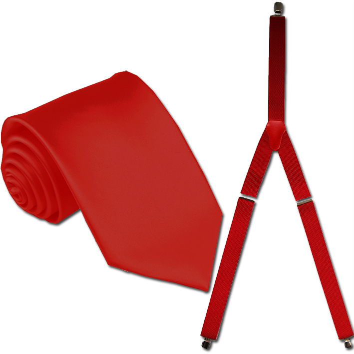 červené kšandy a kravata