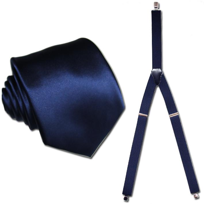 modré kšandy a kravata